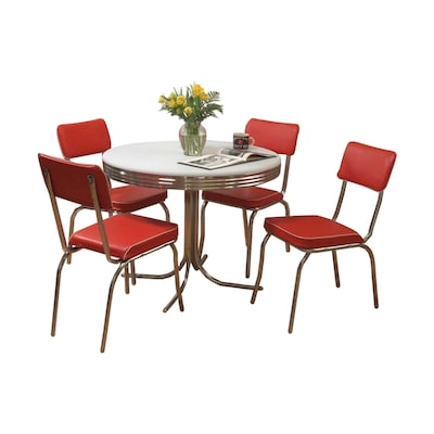Retro Red Dining Set With Round Table