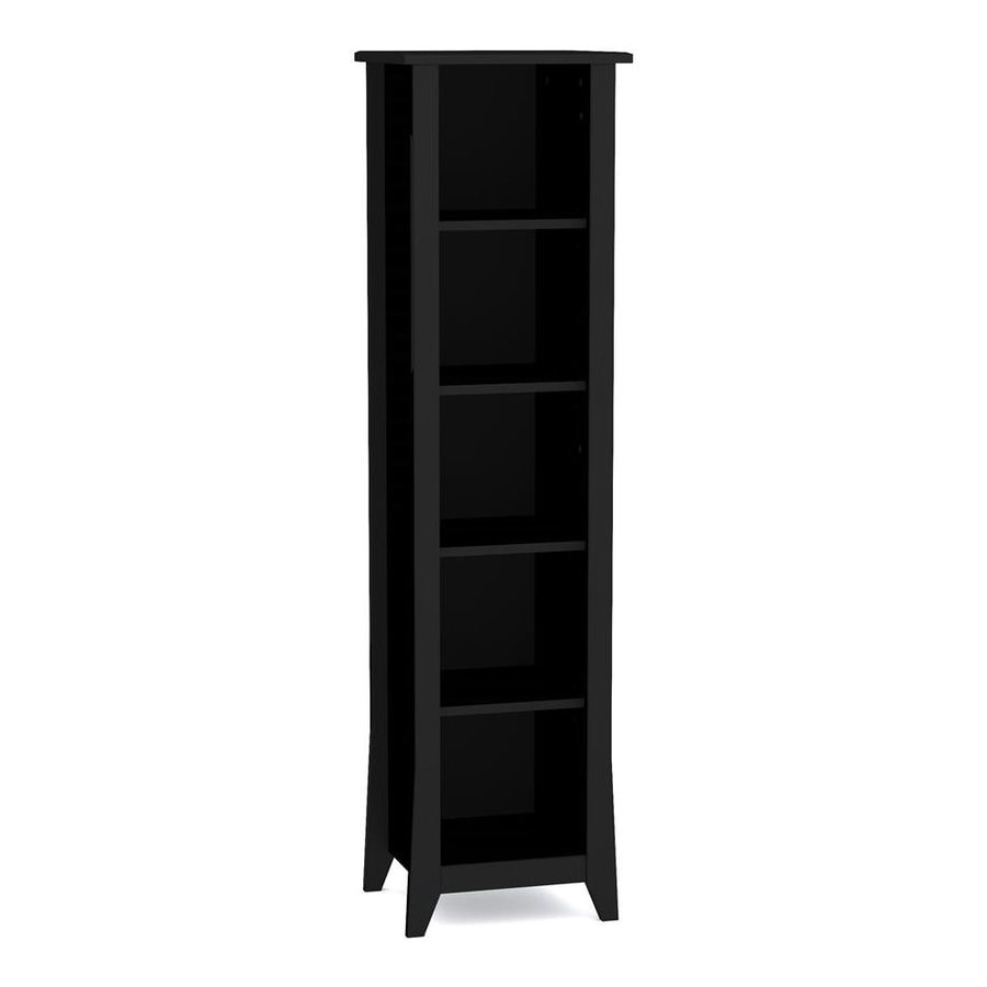 Nexera Tuxedo Black 15.75-in W x 60-in H x 13.75-in D 5-Shelf Bookcase