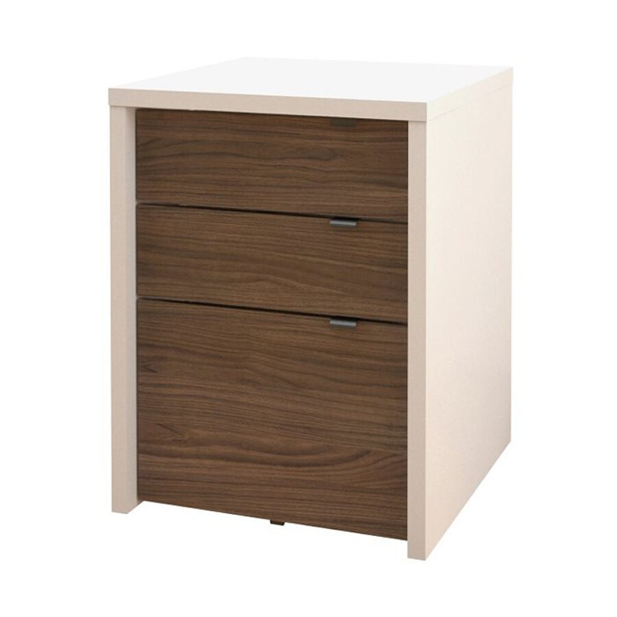 Nexera Liber T White Walnut 3 Drawer File Cabinet