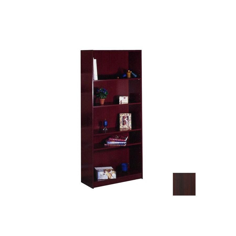 Nexera Mahogany 71.5-in 5-Shelf Bookcase