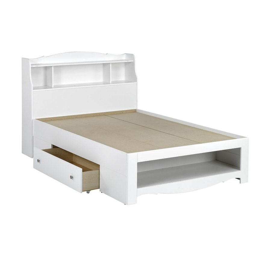 Nexera Dixie White Full Platform Bed With Storage At Lowes Com