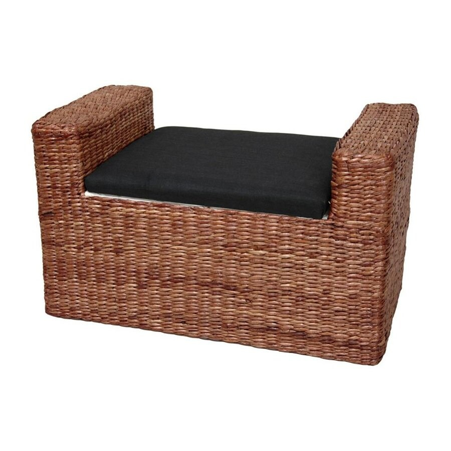 Oriental Furniture Fiber Weave Dark Brown Indoor Storage Bench