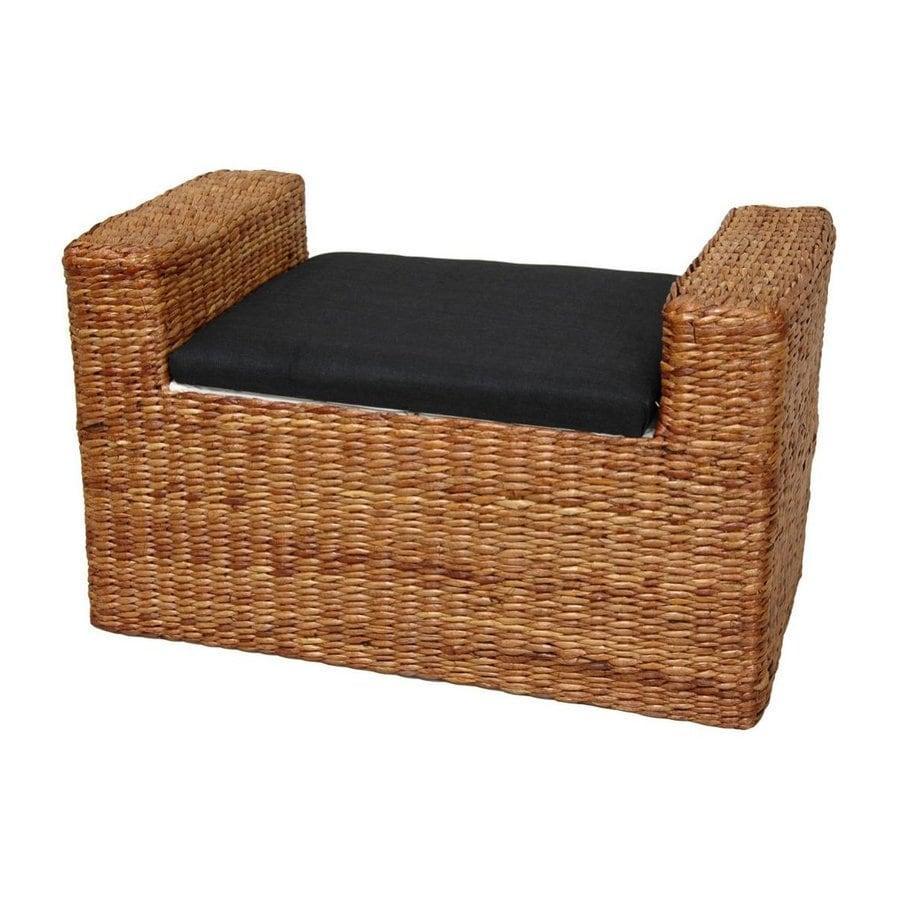 Oriental Furniture Fiber Weave Honey Indoor Storage Bench
