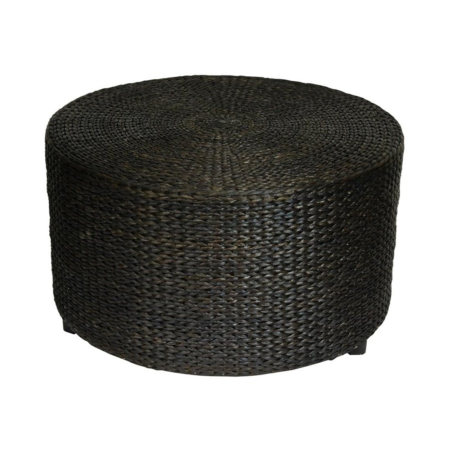 Oriental Furniture Fiber Weave Black Round Rush Grass Ottoman