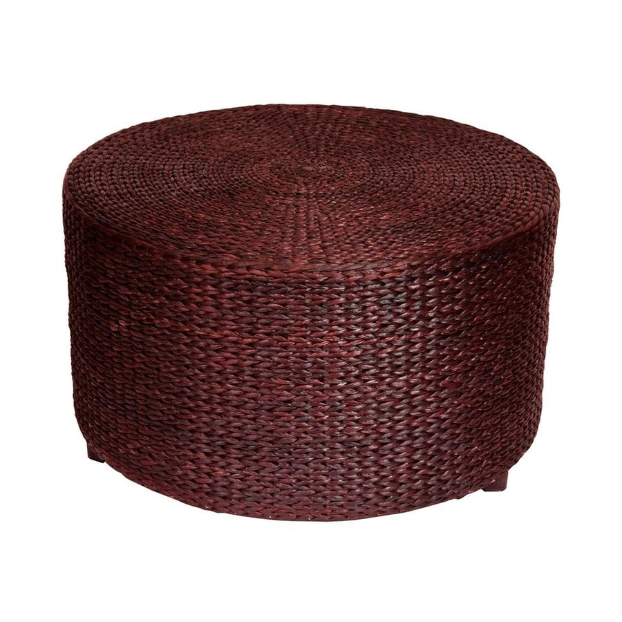 Oriental Furniture Fiber Weave Red Brown Round Rush Grass Ottoman