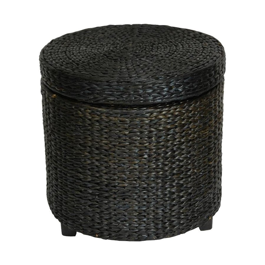 Oriental Furniture Fiber Weave Black Round Rush Grass Storage Ottoman