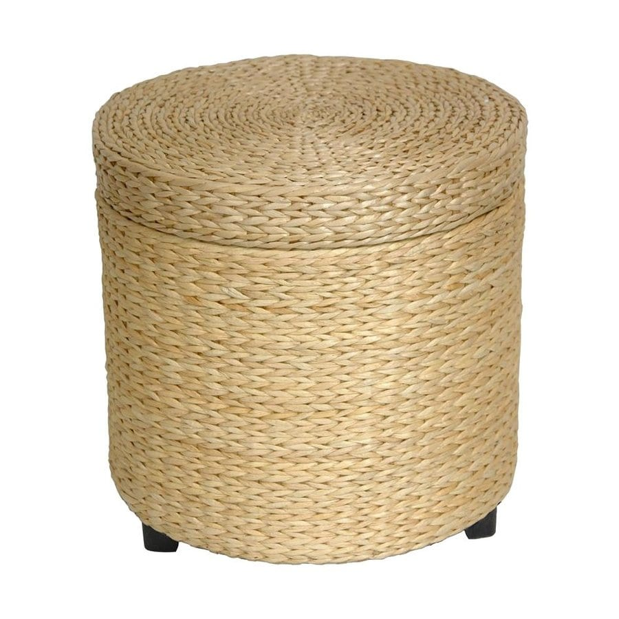Oriental Furniture Fiber Weave Coastal Natural Round Ottoman