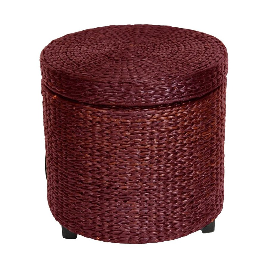 Oriental Furniture Fiber Weave Red Brown Round Rush Grass Storage Ottoman