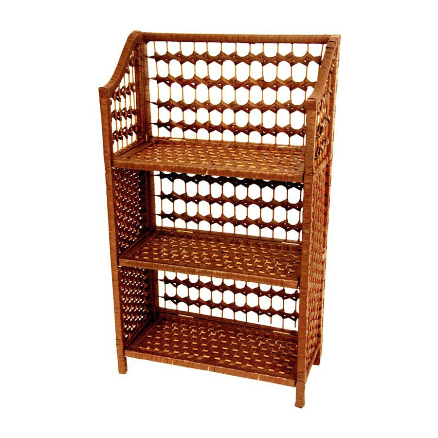 Oriental Furniture Natural Fiber Honey 3-Shelf Bookcase