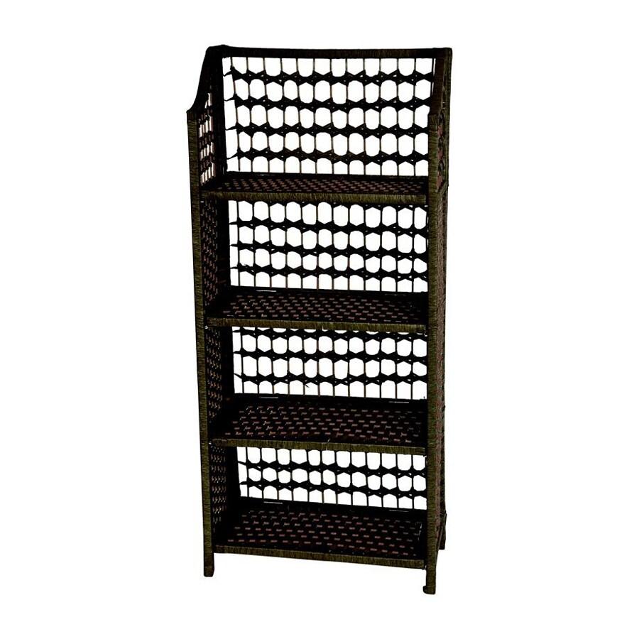 Oriental Furniture Natural Fiber Black 20-in W x 43-in H x 10-in D 4-Shelf Bookcase