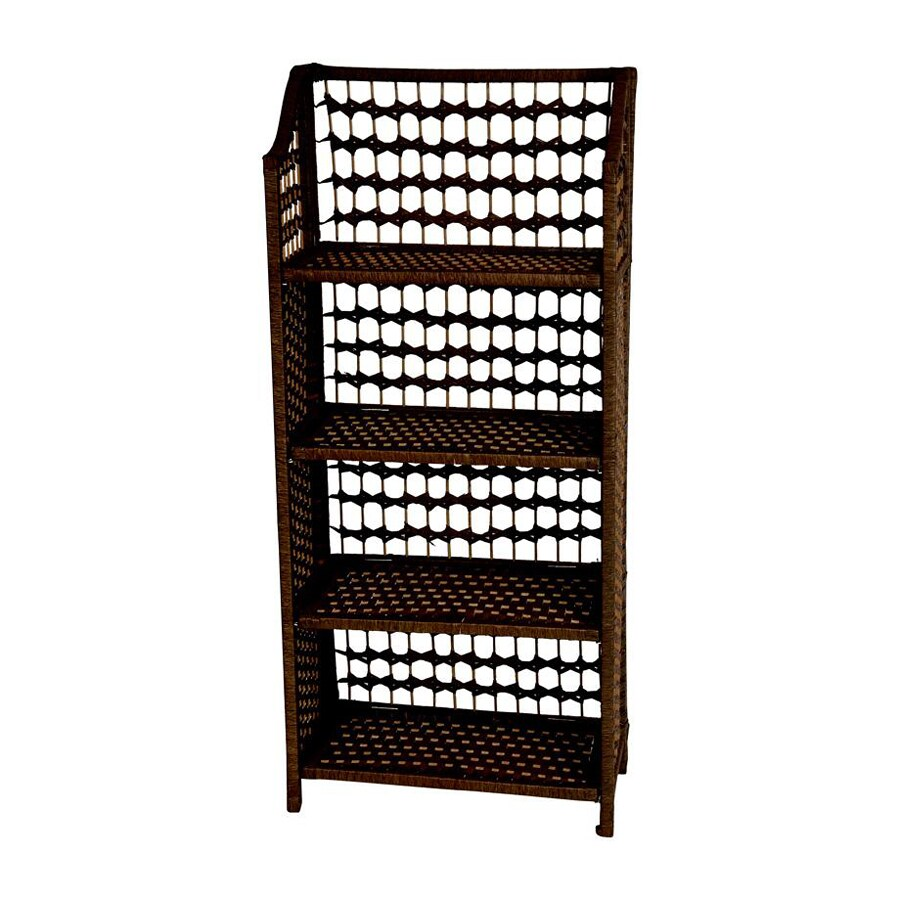 Oriental Furniture Natural Fiber Mocha 4-Shelf Bookcase