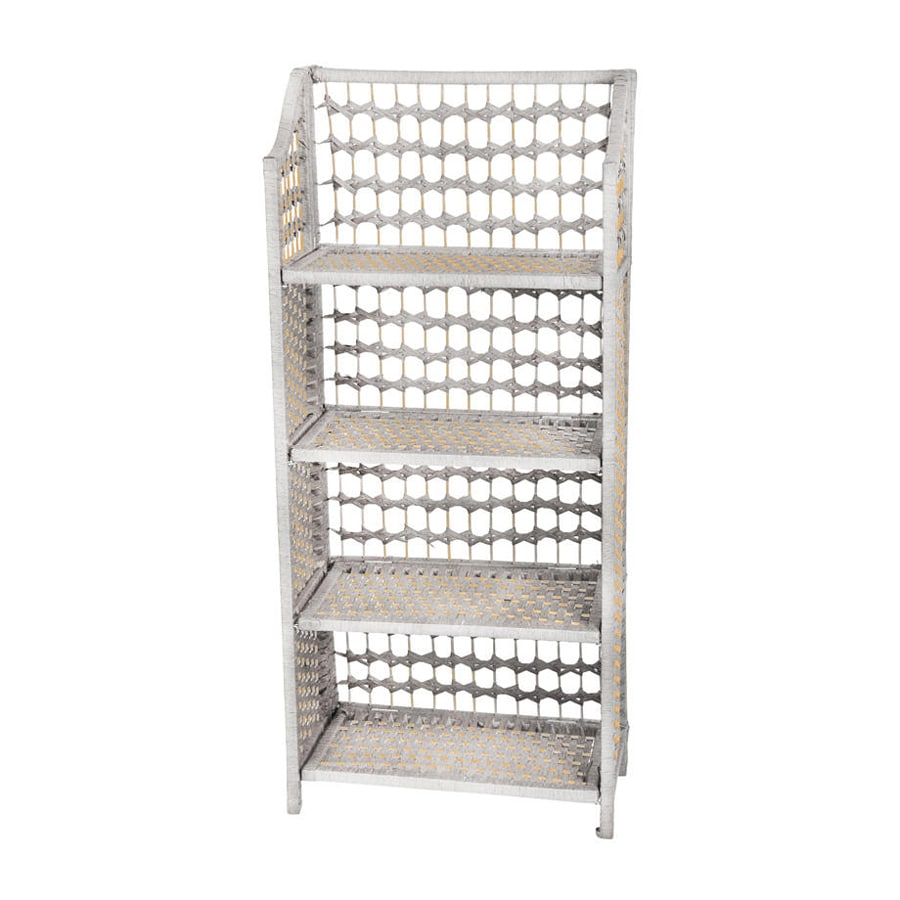 Oriental Furniture Natural Fiber White 19.75-in W x 43.5-in H x 10.25-in D 4-Shelf Bookcase
