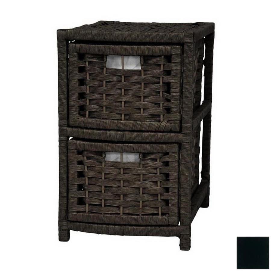Oriental Furniture Natural Fiber Black 2-Drawer Chest