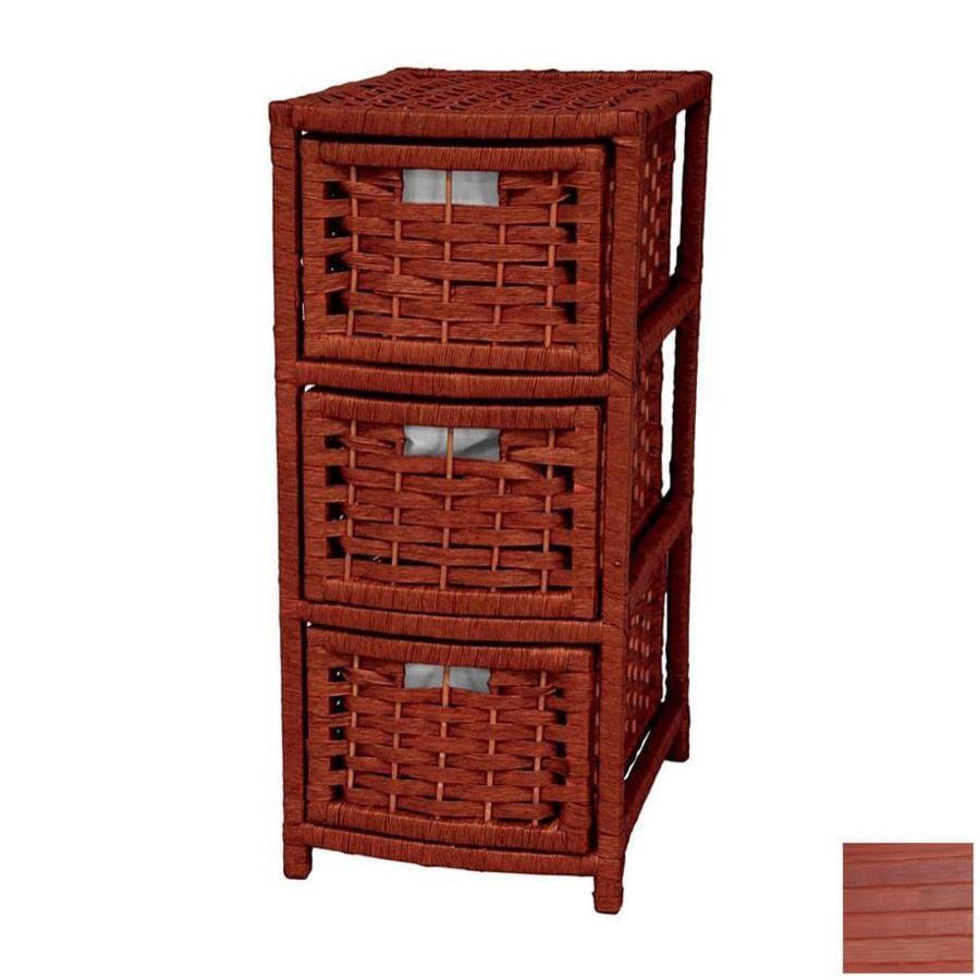 Oriental Furniture Natural Fiber Mahogany 3-Drawer Chest
