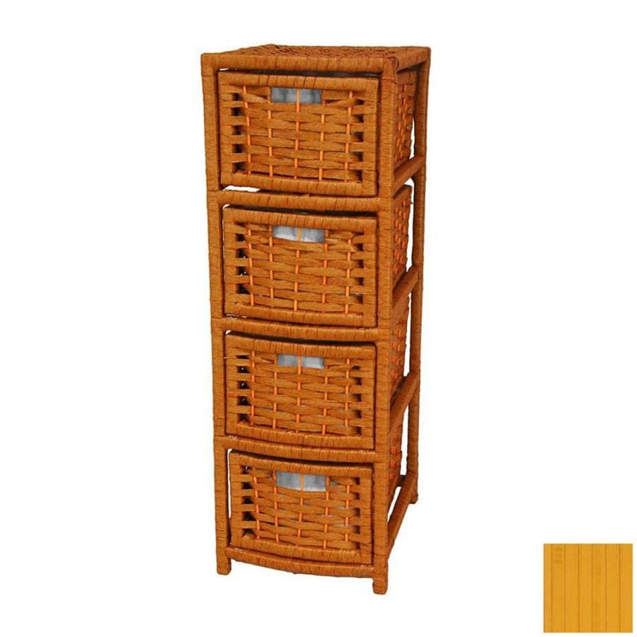 Oriental Furniture Natural Fiber Honey 4-Drawer Chest