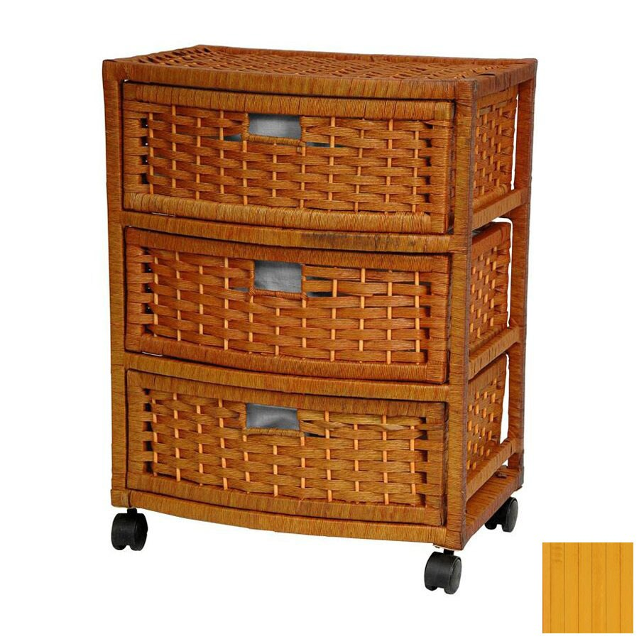 Oriental Furniture Natural Fiber Honey 3-Drawer Chest