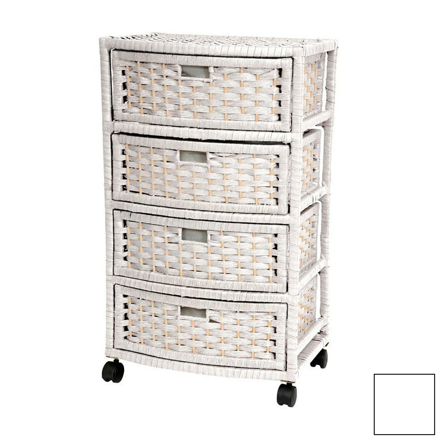 Oriental Furniture Natural Fiber White 4-Drawer Chest