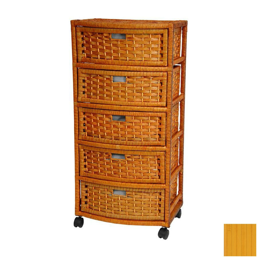 Oriental Furniture Natural Fiber Honey 5-Drawer Chest