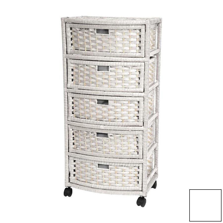 Oriental Furniture Natural Fiber White 5-Drawer Chest