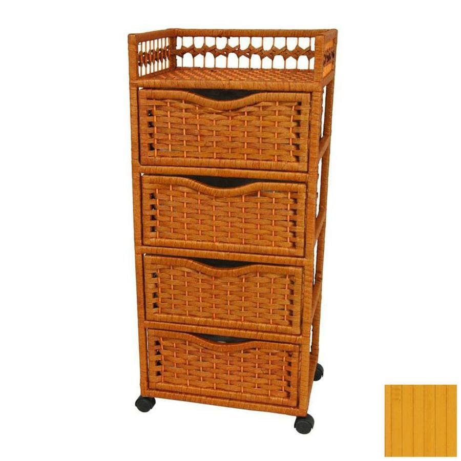 Oriental Furniture Natural Fiber Honey 4-Drawer Chest