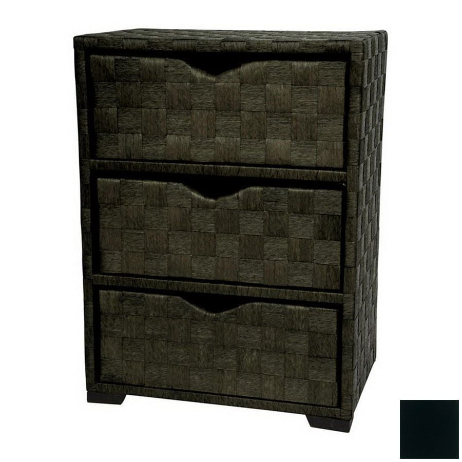 Oriental Furniture Natural Fiber Black 3-Drawer Chest