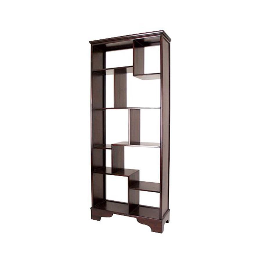 Oriental Furniture Decorative Storage Mahogany 11 Shelf Bookcase