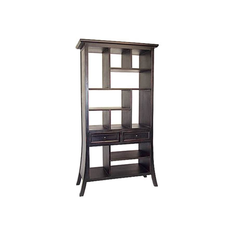 Oriental Furniture Decorative Storage Dark Mahogany 39-in W x 74-in H x 18-in D 11-Shelf Bookcase
