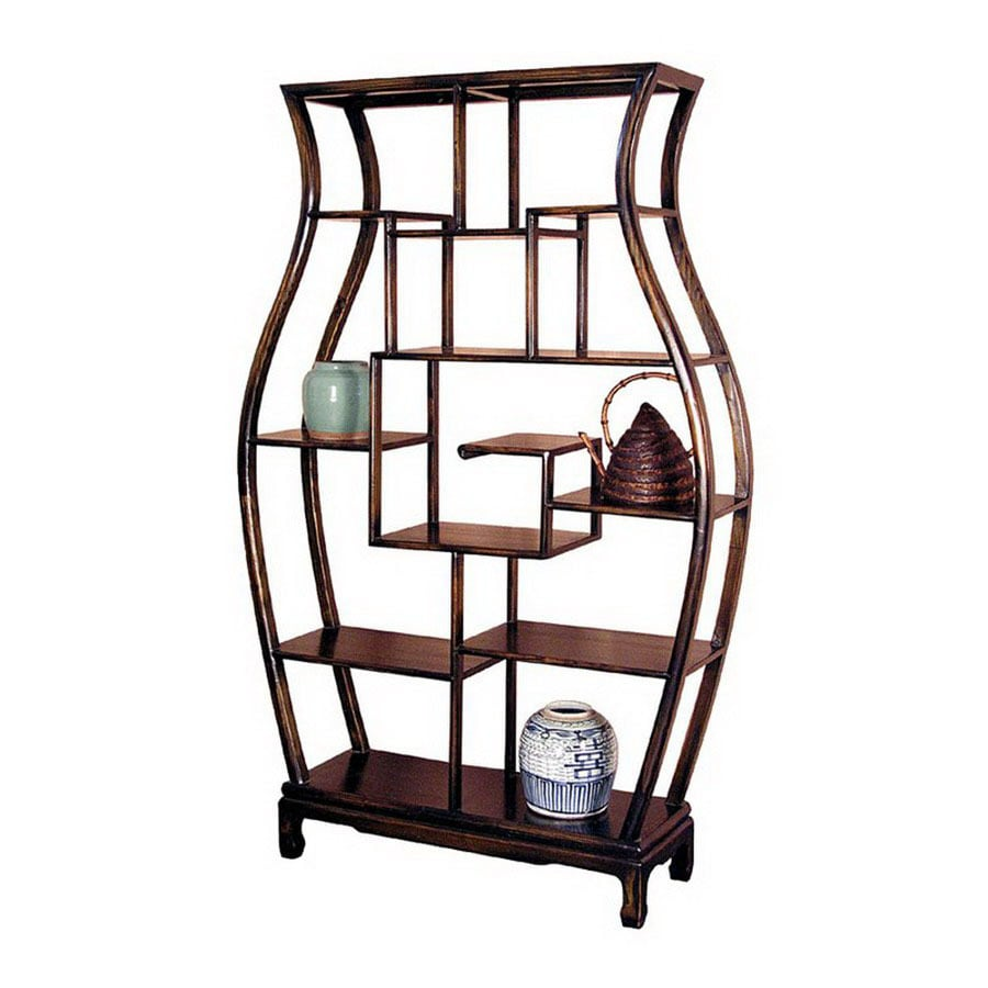 Oriental Furniture Decorative Storage Dark Mahogany 63 In 10 Shelf Bookcase