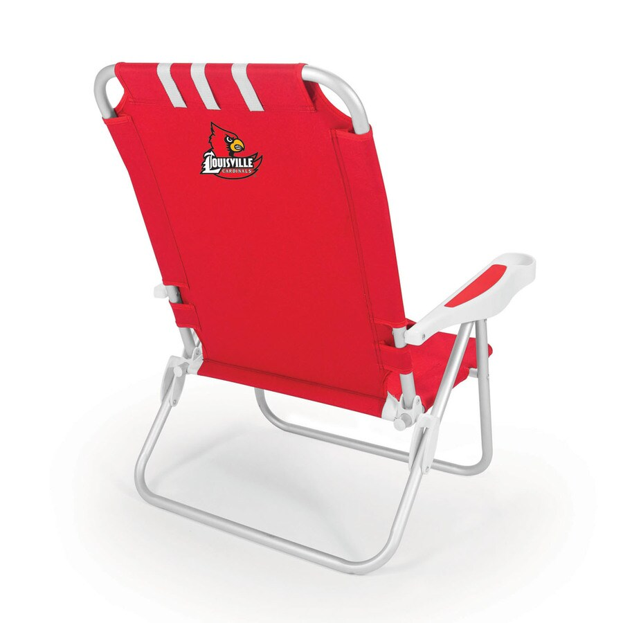 Picnic Time Red NCAA Louisville Cardinals Steel Folding Beach Chair