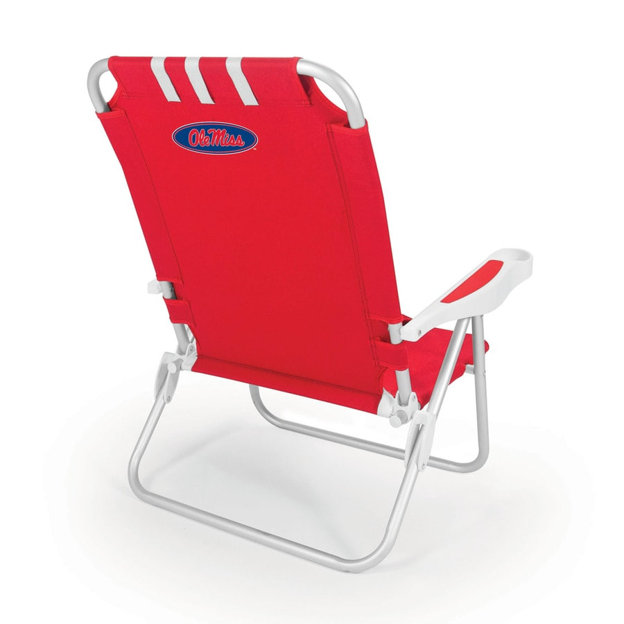 Picnic Time Red NCAA Ole Miss Rebels Steel Folding Beach Chair