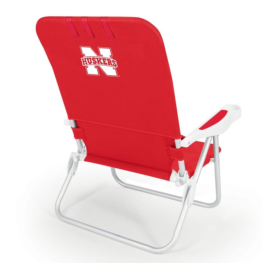 Picnic Time Red NCAA Nebraska Cornhuskers Steel Folding Beach Chair