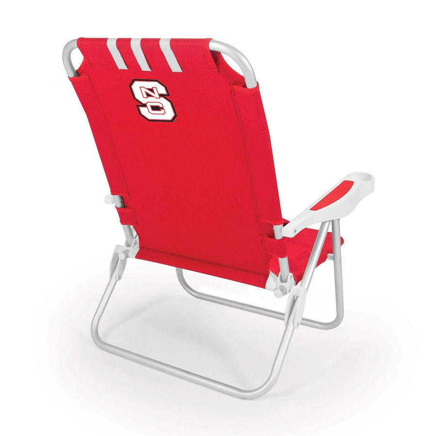 Picnic Time Red NCAA North Carolina State Wolfpack Steel Folding Beach Chair