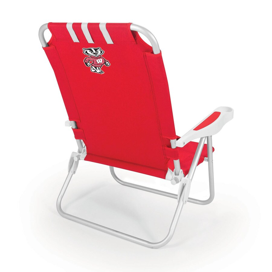 Picnic Time Red NCAA Wisconsin Badgers Steel Folding Beach Chair