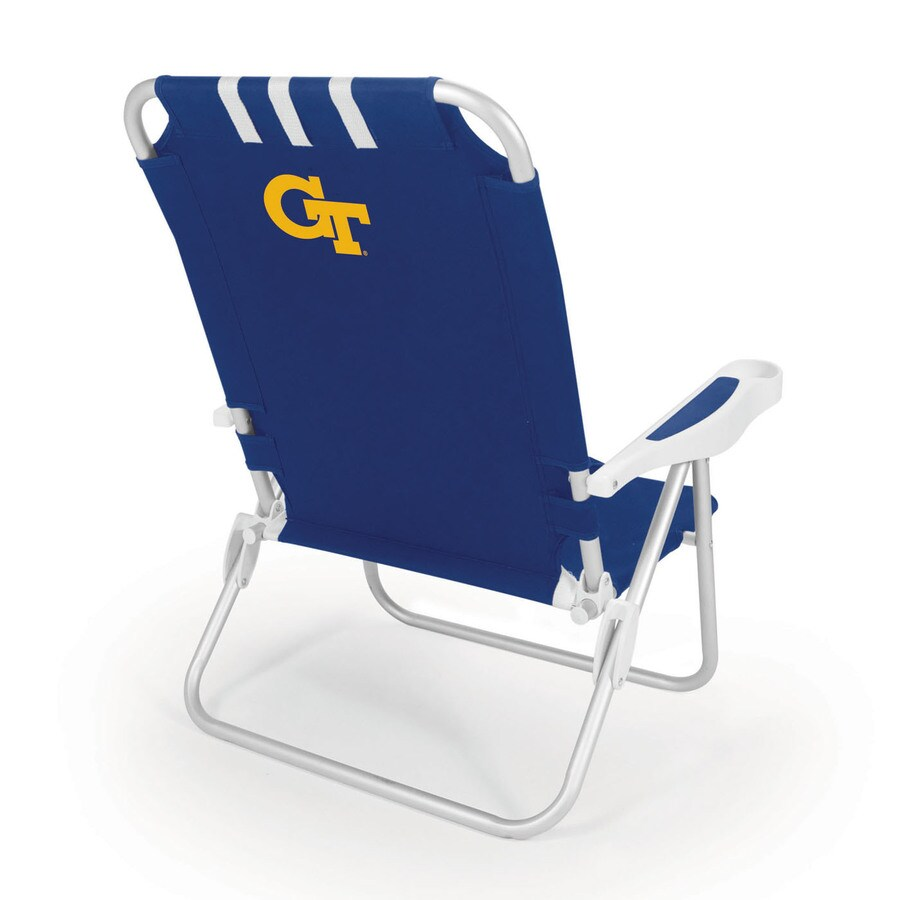 Picnic Time Navy NCAA Georgia Tech Yellow Jackets Steel Folding Beach Chair