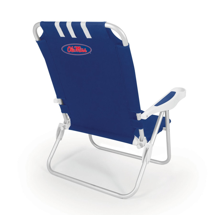 Picnic Time Navy NCAA Ole Miss Rebels Steel Folding Beach Chair