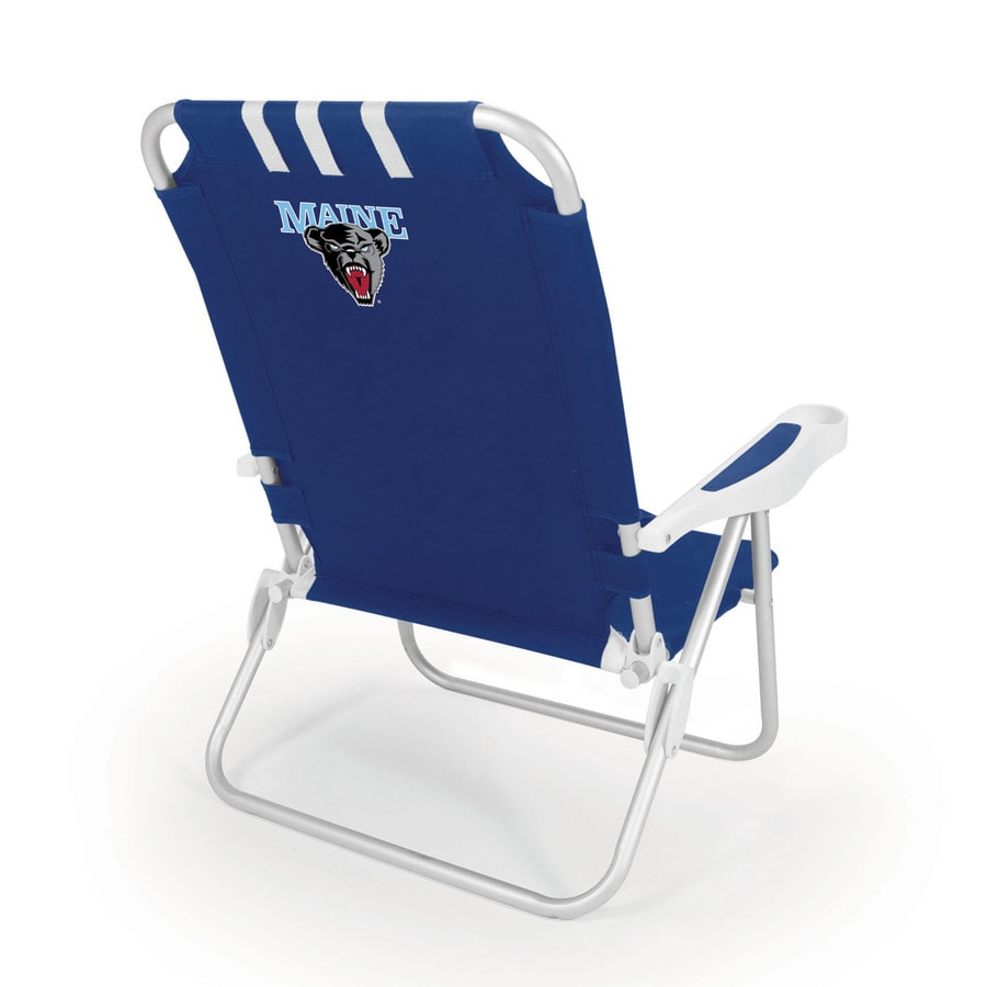 Picnic Time Navy NCAA Maine Black Bears Steel Folding Beach Chair