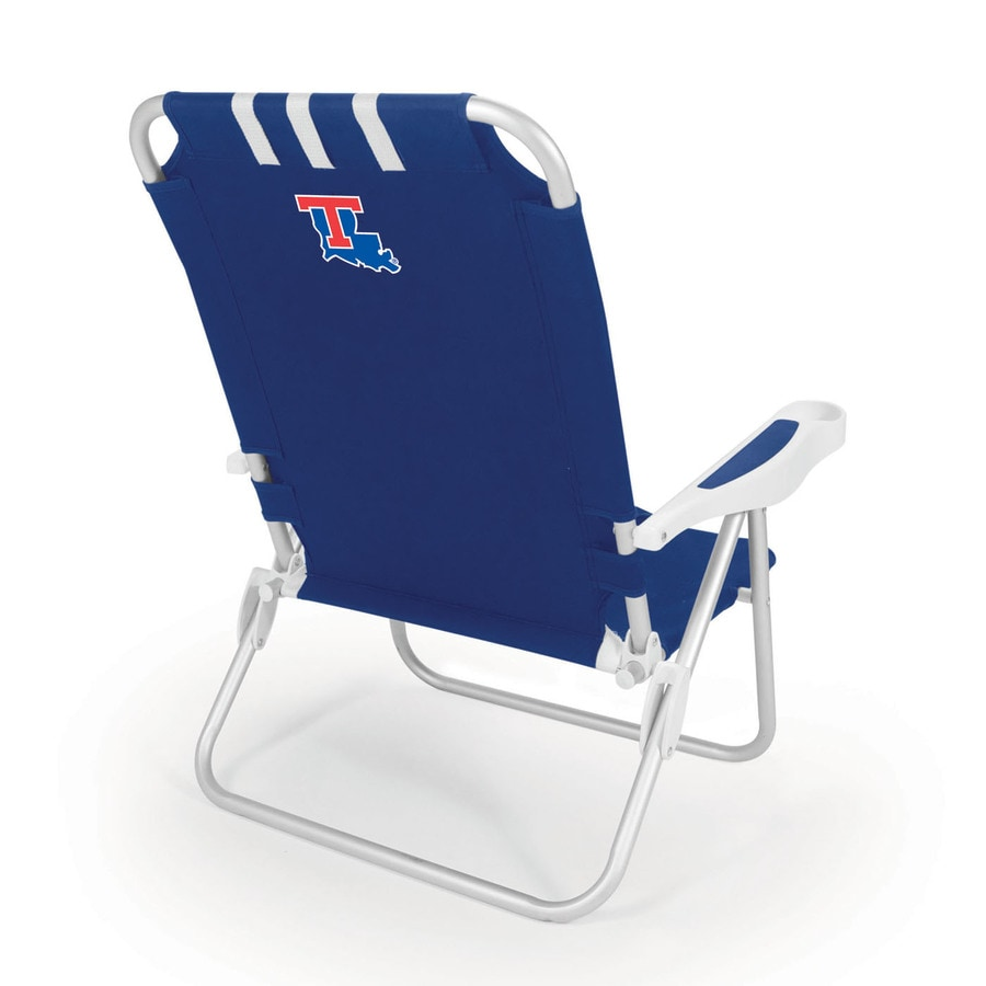 Picnic Time Navy NCAA Louisiana Tech Bulldogs Steel Folding Beach Chair