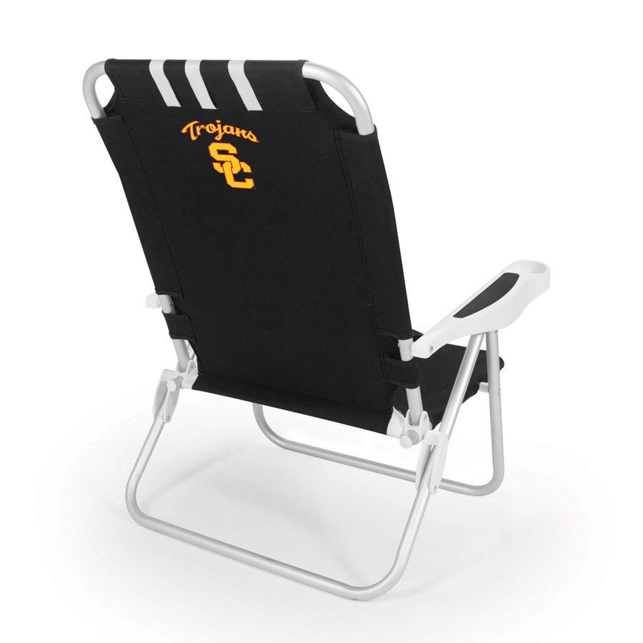 Picnic Time Black NCAA Usc Trojans Steel Folding Beach Chair