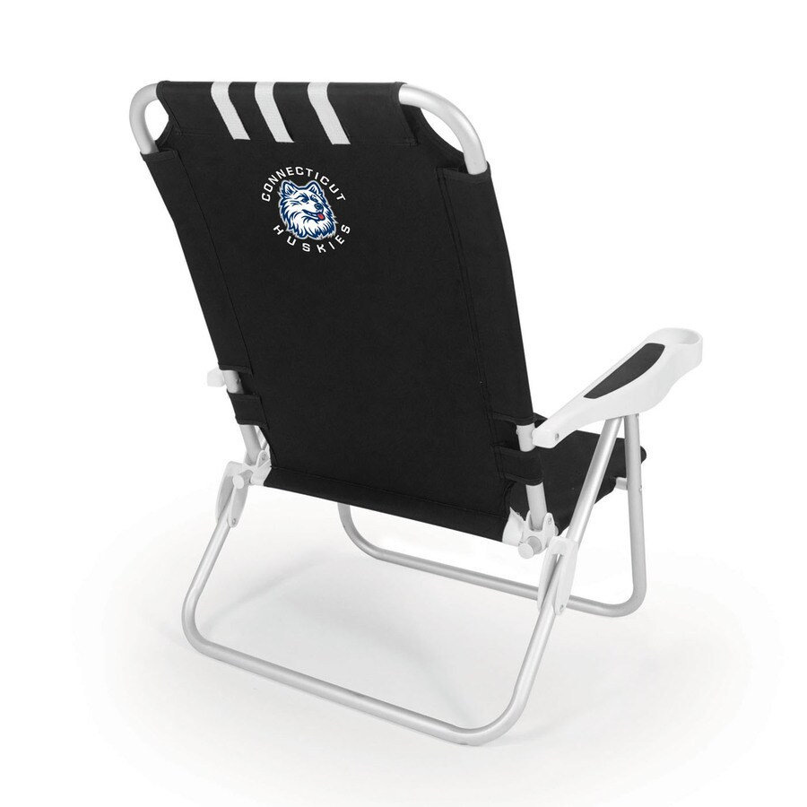 Picnic Time Black NCAA Uconn Huskies Steel Folding Beach Chair