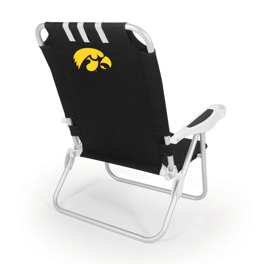 Picnic Time Black NCAA Iowa Hawkeyes Steel Folding Beach Chair