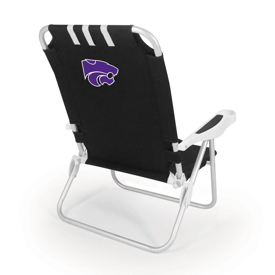 Picnic Time Black NCAA Kansas State Wildcats Steel Folding Beach Chair