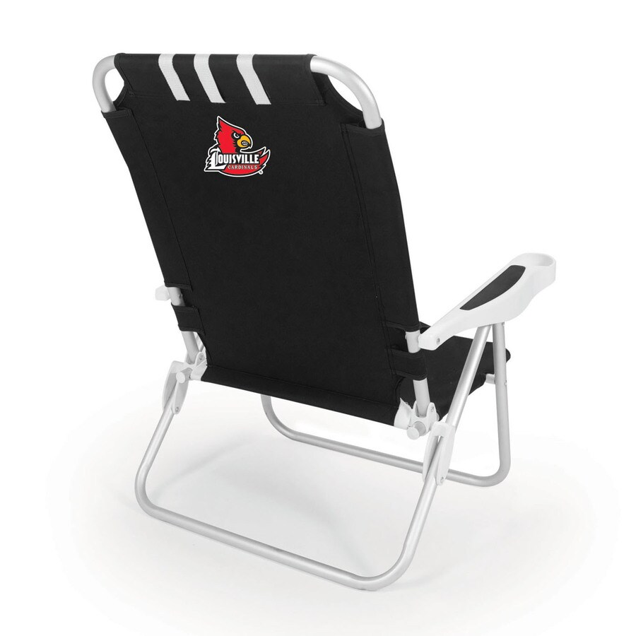 Picnic Time Black NCAA Louisville Cardinals Steel Folding Beach Chair