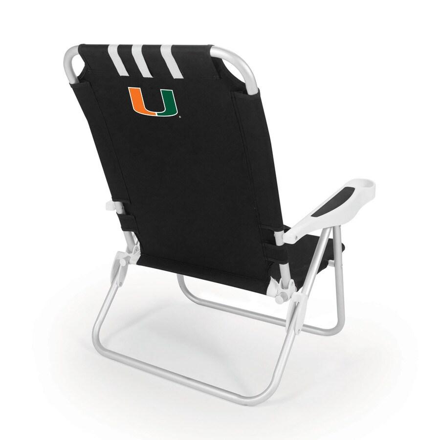 Picnic Time Black NCAA Miami Hurricanes Steel Folding Beach Chair