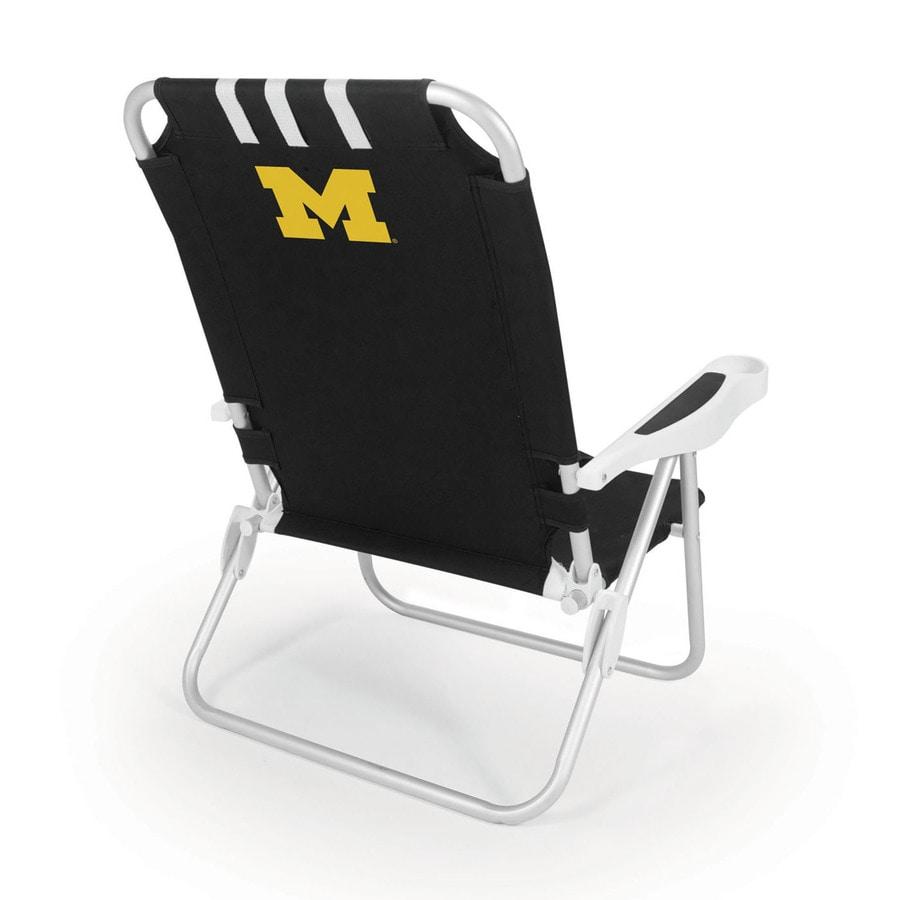 Picnic Time Black NCAA Michigan Wolverines Steel Folding Beach Chair