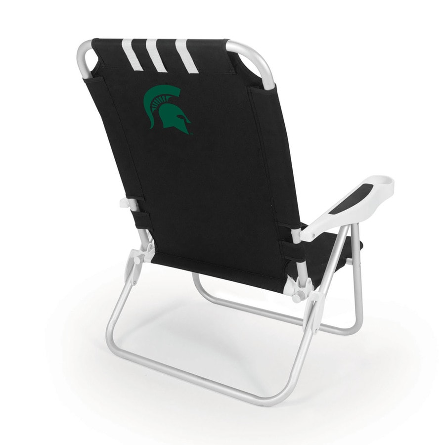 Picnic Time Black NCAA Michigan State Spartans Steel Folding Beach Chair