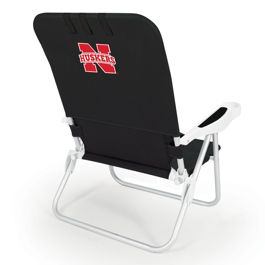 Picnic Time Black NCAA Nebraska Cornhuskers Steel Folding Beach Chair