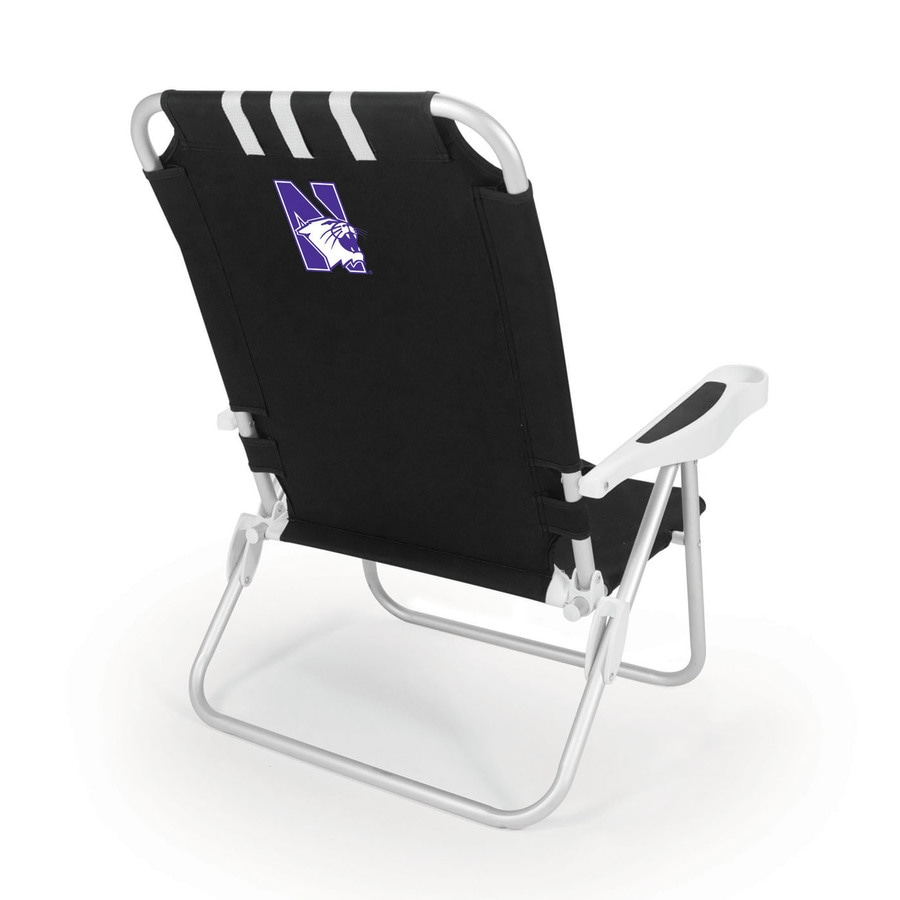 Picnic Time Black NCAA Northwestern Wildcats Steel Folding Beach Chair