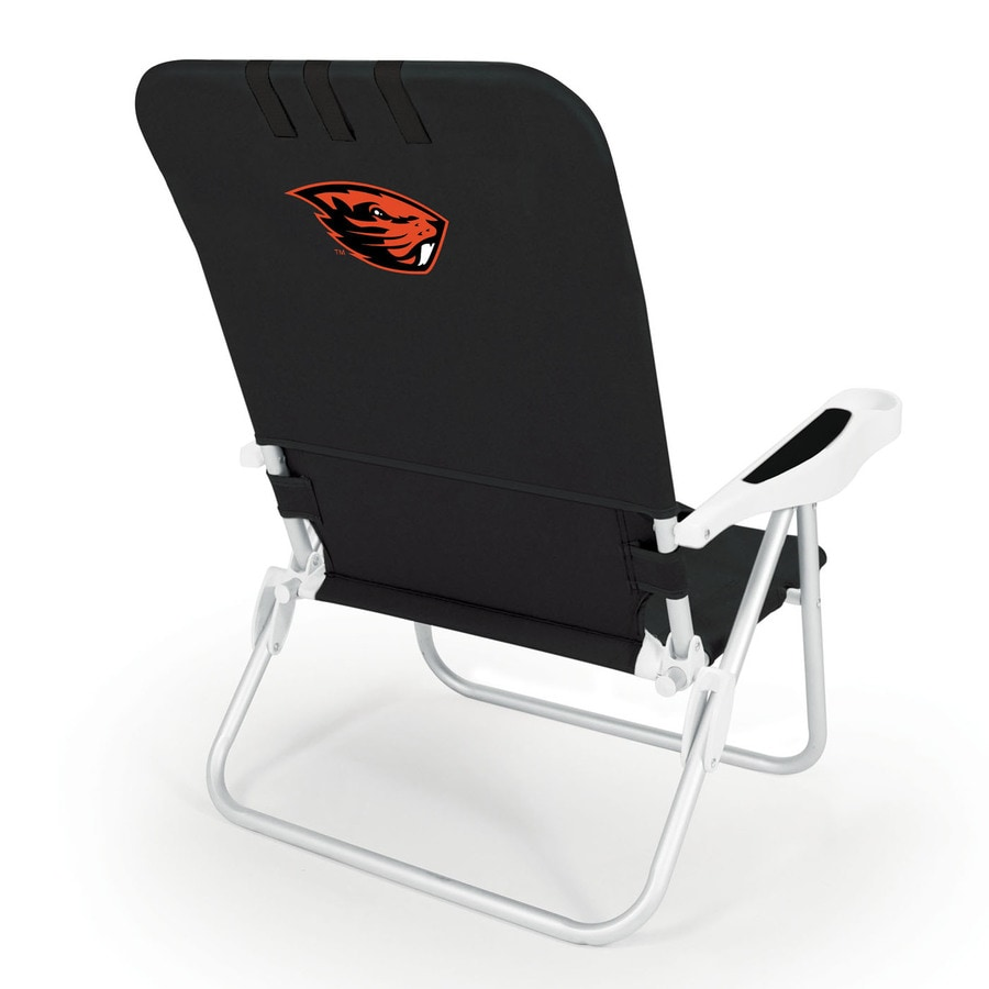Picnic Time Black NCAA Oregon State Beavers Steel Folding Beach Chair