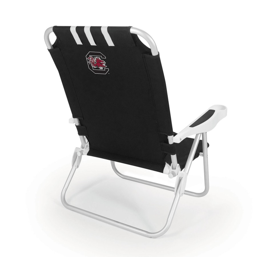 Picnic Time Black NCAA South Carolina Gamecocks Steel Folding Beach Chair