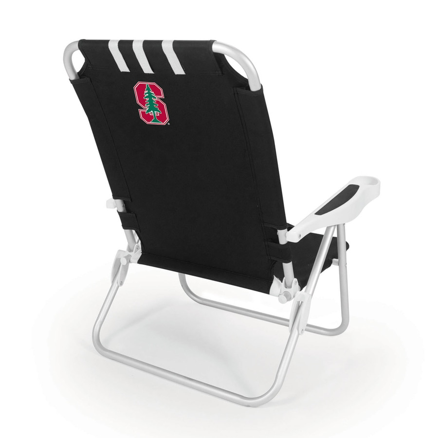 Picnic Time Black NCAA Stanford Cardinal Steel Folding Beach Chair